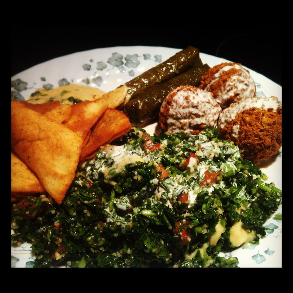 This babely tabouleh salad and falafel balls are from Cedar's!