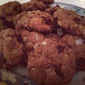 Almondy Oatmeal Dark Chocolate Coconut Cookies