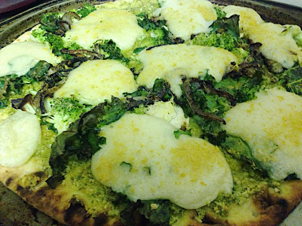 green goodness with homemade mozza right out of the oven! couldn't get an amazing picture but you get the idea!