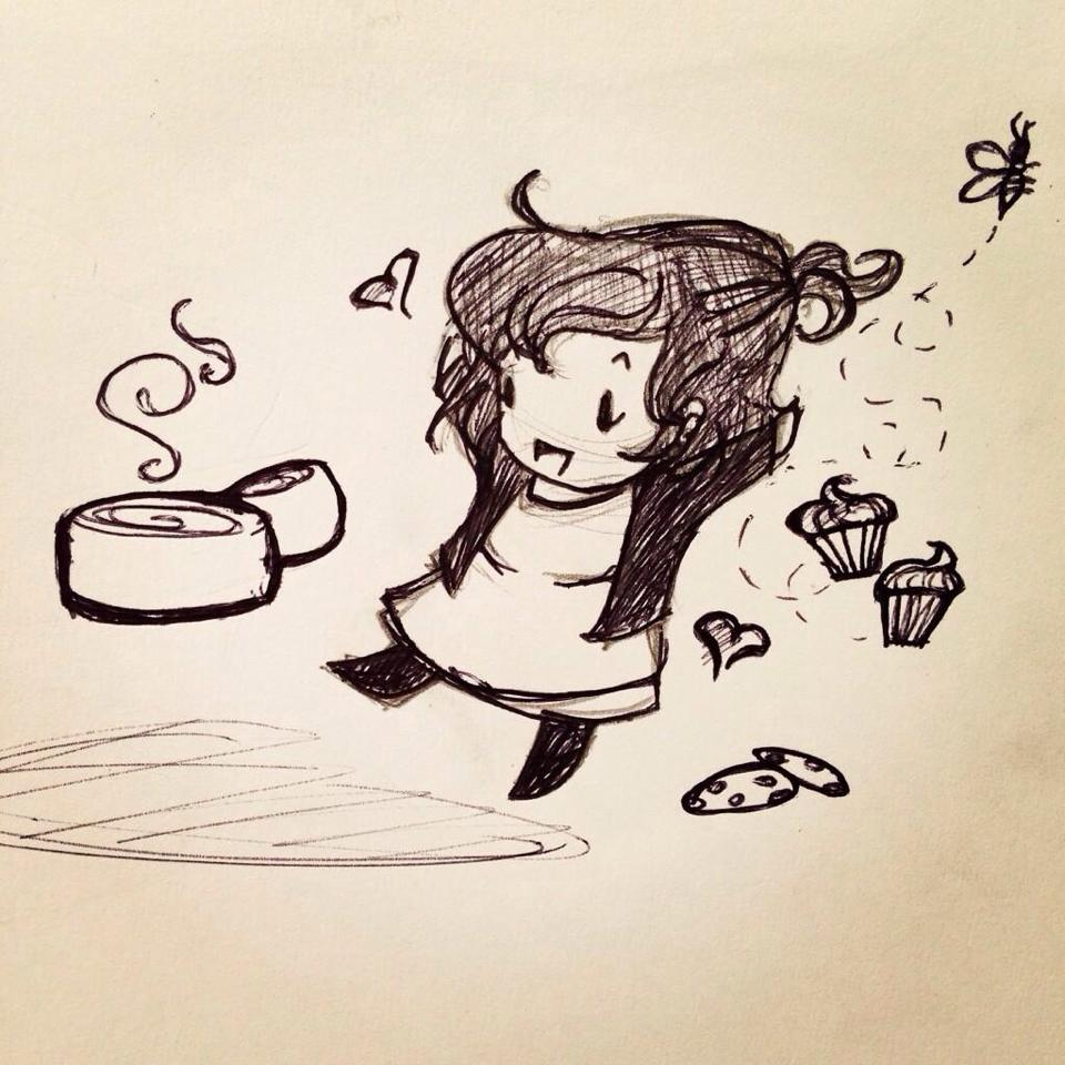 This is a picture my friend Jade (of LLF) drew of me sipping tea surrounded by cupcakes- pretty much what happens all day!