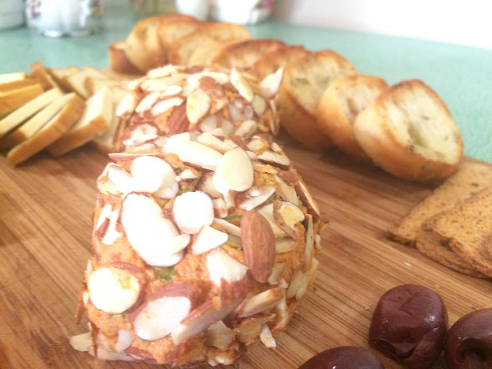 Sundried Tomato and Dill Cashew Cheese, rolled in almonds