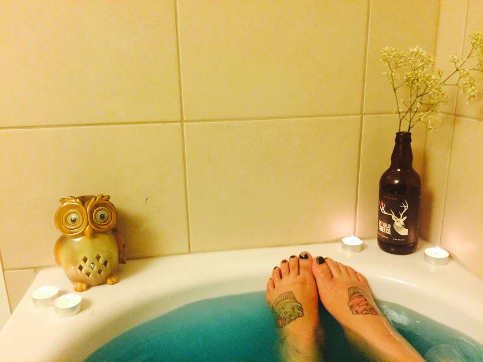 Owls, candles, and flowers in the empty bottle of Left Field Cider I devoured only an hour before <3