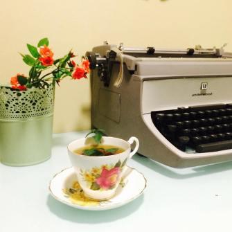 fresh mint tea in my little office nook